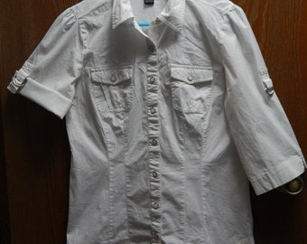 Style + Co. Womens 6 Stretch 3/4 Sleeves Button-down 2-Pocket White Blouse/Shirt