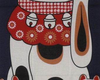 Cat Fabric Japanese Tenugui 'Maneki Neko on Navy' w/Free Insured Shipping