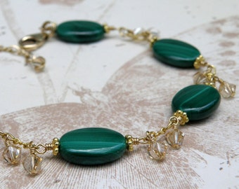 Green Stone Malachite Bracelet, Gold Filled, Emerald Hunter Green Hue, Swarovski Crystal Clusters, May Birthday Gift, Wedding Jewelry