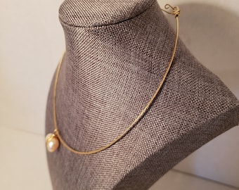 Gold Hammered Choker Pearl Necklace