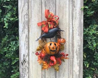 Halloween door wreath, Jack-o-Lantern Wreath, Halloween Pumpkin Wreath,Halloween door wreath,Halloween Wreath for door,Fall Halloween wreath