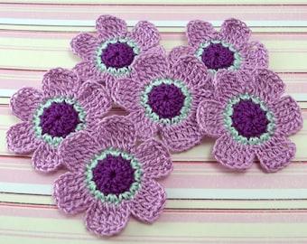 Purple Flowers, 6 Petal Flowers, Flower Appliques, Crochet Flowers, Crochet Appliques