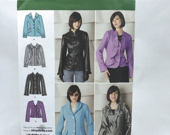 Simplicity 2313 Womens Plus Size Button Down Ruffled Long Sleeve Jackets Blazer Size 16 24 Uncut Sewing Pattern