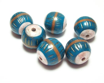 NOW ON SALE Handmade Polymer Clay Beads Turquoise and Gold with Mica