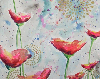 Watercolor painting -Poppy/gold #5 (16 x 20)