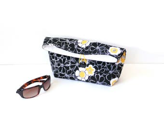 Fold over clutch purse, black yellow, clutch bag, Spring handbag, everyday cotton bag