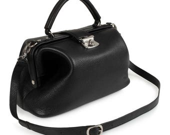 Leather Top Handle Bag, Black Leather Handbag Top Handle, Women's Leather Bag KF-1310