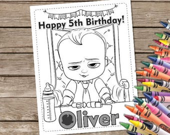 Boss Baby Digital Coloring Pages, 6 Boss Baby Printable Coloring Pages, Party Favor Activities