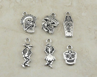 6 TierraCast Day of the Dead Charms Mix Pack > Dia De Los Muertos Skull Skelleton - Silver Plated Lead Free Pewter - I ship Internationally