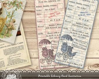 Library Card Invitation, Baby Shower Invitation, Baby Shower Library Card Invitation Boy and Girl, Printable Vintage Library Card Invites
