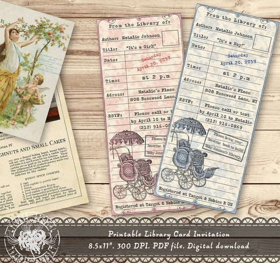 Library card invitation baby shower invitation baby shower like this item filmwisefo
