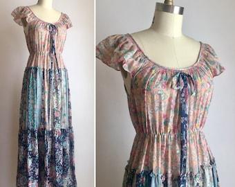 70s boho maxi dress S/M ~ vintage floral summer dress