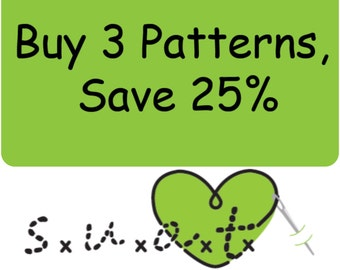 Buy 3 Patterns, Save 25% with the code BUY3ANDSAVE25