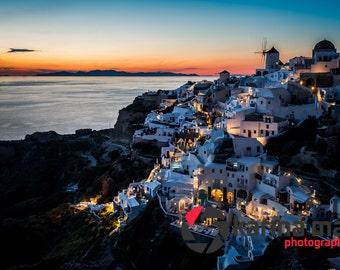 Santorini Sunset Photo Greek Island, Oia, Greece Landscape, Travel Photography, Print, Wall Art