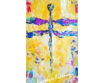 Dragonfly wall art archival quality print 6x12 or 12x24