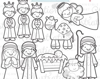 Christmas Nativity Cute Christmas Digital Stamps for Commercial or Personal Use, Nativity Digital Stamp, Christmas Graphics, Christmas