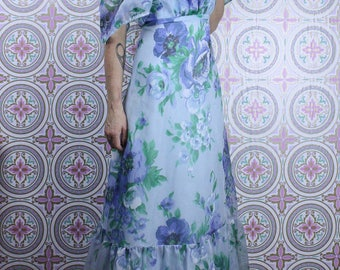 70's Floral DRESS Blue Maxi Gown // Pretty Girly Ruffles // Size Small