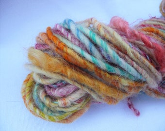Corespun Art Yarn Multicolored Silk, Wool and Sparkly Fibers 62 Yds