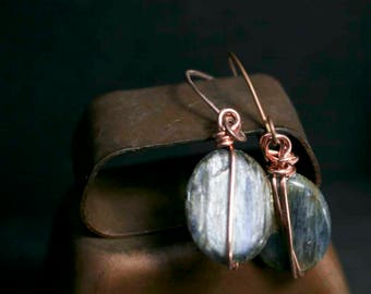 Icy Blue Kyanite Dangle Earrings with Copper Forged Earwires and Multi Color Texture Czech Glass Beads in Different Shapes Gift Idea for Her