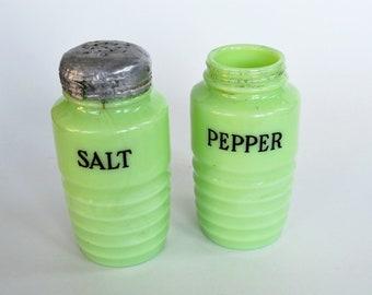 Jeannette Jadeite Salt and Pepper Shakers Ribbed