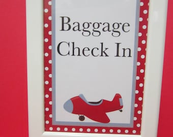 Airplane Party Baggage Check-In sign