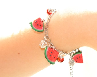 Watermelon Polymer Clay bracelet with red white crystal beads Summer jewelry gift for women charm bracelet science miniatures charm bracelet