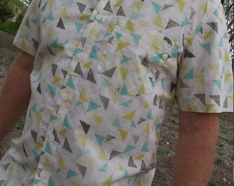 Men's Handmade Organic Cotton Button Down Dress Shirt - Triangle Geometric on Ivory - Remus J997