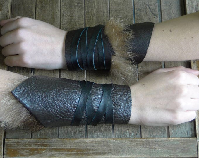 Leather Cuffs - Warrior Viking Tribal Larp Costume Cosplay - Pair #2b