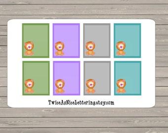 8 Full Box Planner Lion Stickers Fits Erin Condren Life Planner