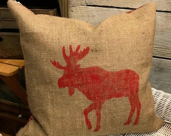 Moose Christmas Pillow Cover