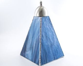 Stained Glass Pendant Light, Unique Ceiling Fixture, Glass Shade, Kitchen Island Lighting, Hanging Lamp, Stain Glass, Blue and Purple