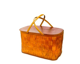 Vintage Picnic Basket Large Summer Beach Cottage Wooden Splint Hamper Hinged Lid Metal Handles