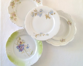 Vintage Plates Mismatch Floral Pattern Plates Set of Four Instant Plate Collection Spring Ombre