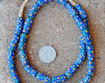 Krobo Beads: Green/Blue/Orange 8x20mm