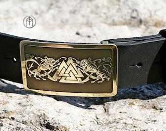 """Leather belt brass buckle """"Gates of Valhalla"""""""