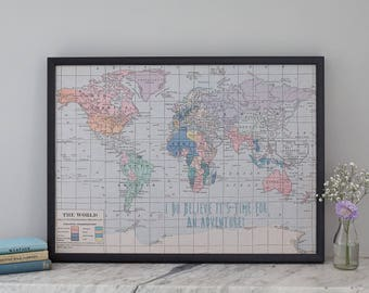 I do believe its time for an adventure, printed quote map notice board, fabric notice board, magnetic notice board, world map, pin board