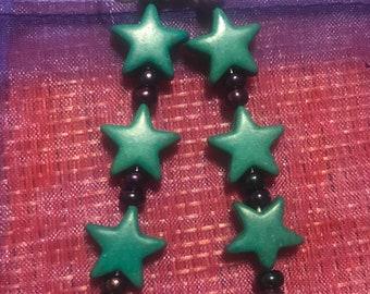 Gorgeous teal star earrings