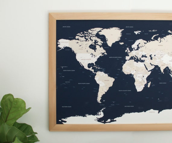 Push pin travel map navy world map push pin map large world gumiabroncs Gallery