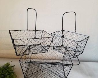 One Chicken Wire Basket with handle Black Basket Farmhouse