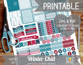 Winter Christmas Printable Planner Stickers, Erin Condren Planner Stickers, Weekly Planner Stickers, Winter Stickers, CUT FILES