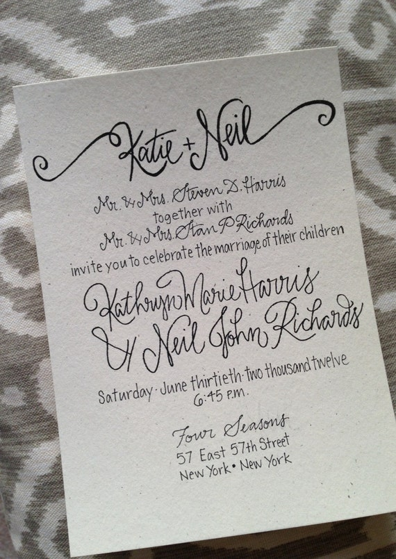 Calligraphy Wedding Invitation Calligraphy Wedding Invite