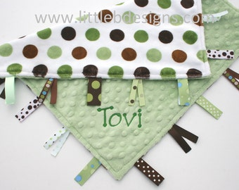 Personalized Baby Tag Blanket Ribbon Lovey - Green and Brown Dot with Sage Minky