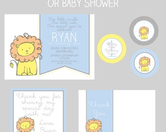 Boy First Birthday - Lion- Blue - Baby Shower- SMALL Printable Party Package