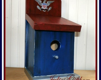 Hand Crafted Wood Birdhouse Red -  Bird House - Hand Crafted In The USA- Ready To Ship