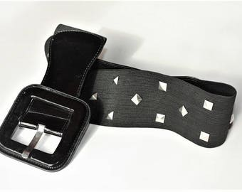 Vintage a bit Stretch Black Belt - gift for women ... a Fashionista Statement Piece can fit for Size XS and S