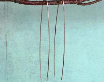 Climber Silver Earrings, Long Threaders, Line Bar Earrings, Sterling Silver Open Hoops, Minimalist Hoop, Everyday Earring, Threader Earrings