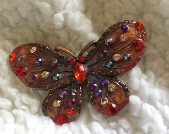 Vintage Butterfly Brooch... Very Colorful