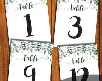 Table Numbers / Greenery Wedding Table Numbers / Floral Wedding Table Numbers / 1-12  / Green Leaves  / Watercolor / Instant Download