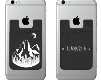 Two Wander cell phone stick on wallet card holder phone pocket for iPhone, Android and all smartphones.