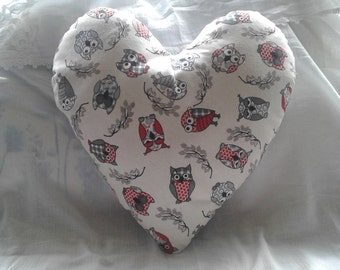 Owl heart shaped cushion